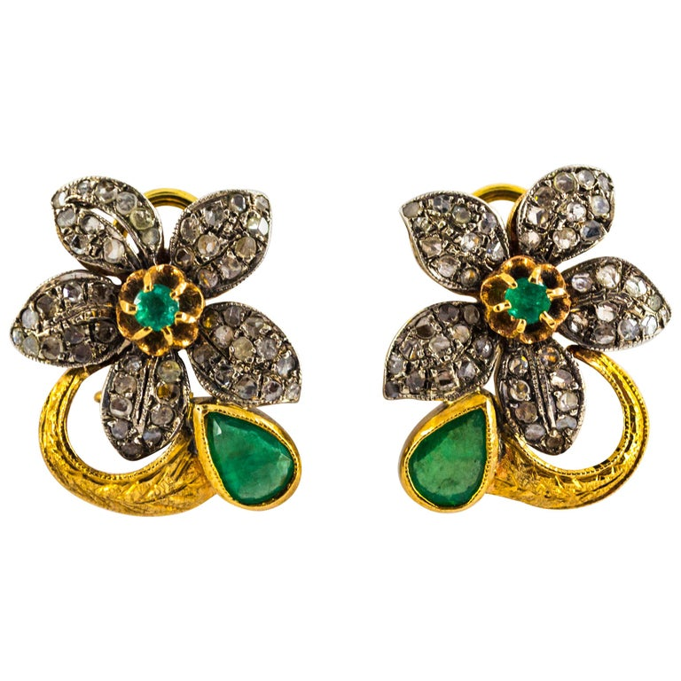 2.60 Carat White Rose Cut Diamond Emerald Yellow Gold Clip-On Flowers Earrings For Sale