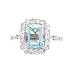 2.60 Carats Natural Aquamarine and Diamond 14k Solid White Gold Ring