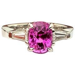 2.60 Ct Natural Purplish Pink Sapphire and Diamond Ring Platinum GIA Certified