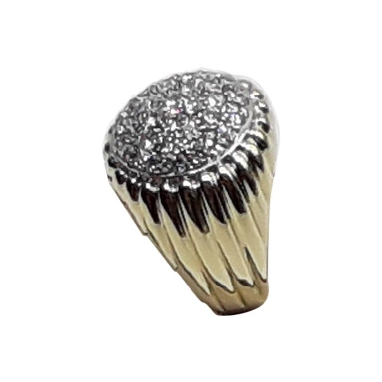 2.60 Diamonds Gold Dome Cocktail Ring, 1980s