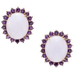 26.00 Carat Light Lavender Jadeite Jade Amethyst Halo Yellow Gold Earrings
