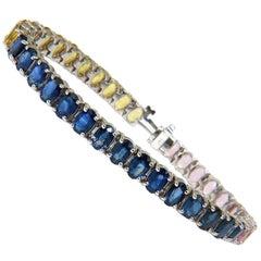 26.00 Carat Natural Rare Blue Yellow Pink Gem Sapphire Bracelet 14 Karat