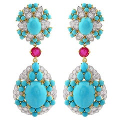 26.02 Carat Turquoise Diamond 18 Karat Gold Sleeping Beauty Earrings