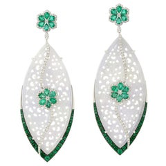 26.04 Carat Carved Jade Emerald 18 Karat Gold Diamond Earrings