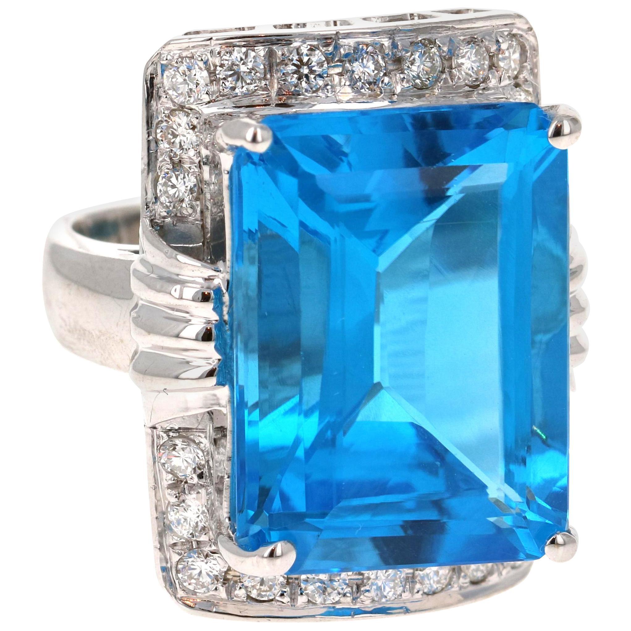 26.07 Carat Emerald Cut Blue Topaz Diamond 14 Karat White Gold Cocktail Ring