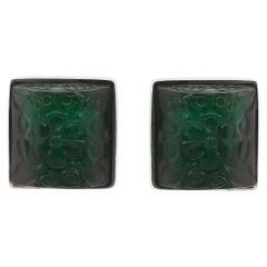 26.08 Carat Cushion Cut Carved Emerald Men's Cufflinks 14 Karat White Gold