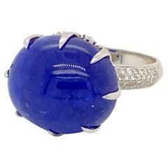26.08 Carat Tanzanite Ring with Diamonds