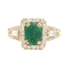 2.60ct Natural Emerald & Diamond 18k Solid Yellow Gold Ring