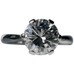 2.60 Carat White Round Brilliant Cut Diamond Platinum Solitaire Engagement Ring
