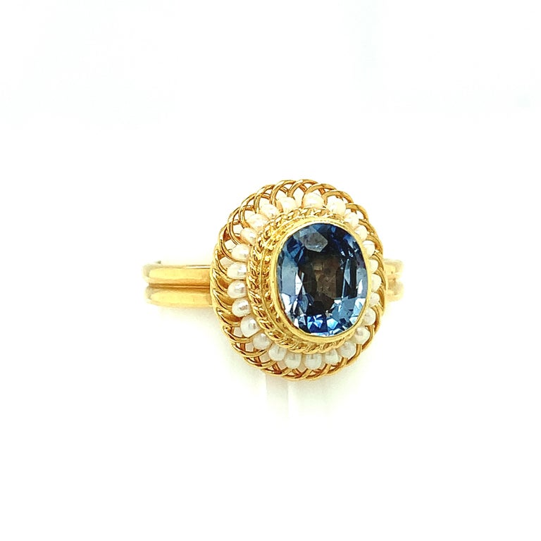 Artisan 2.61 Carat Blue Sapphire, Seed Pearl Yellow Gold Filigree Cocktail Ring For Sale