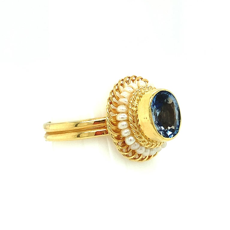 Oval Cut 2.61 Carat Blue Sapphire, Seed Pearl Yellow Gold Filigree Cocktail Ring For Sale