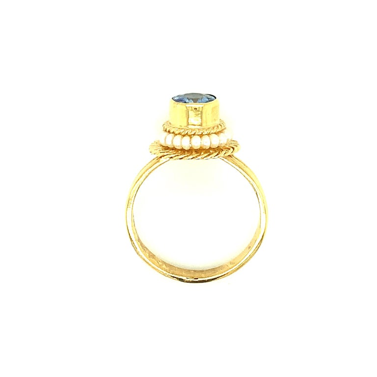 2.61 Carat Blue Sapphire, Seed Pearl Yellow Gold Filigree Cocktail Ring In New Condition For Sale In Los Angeles, CA