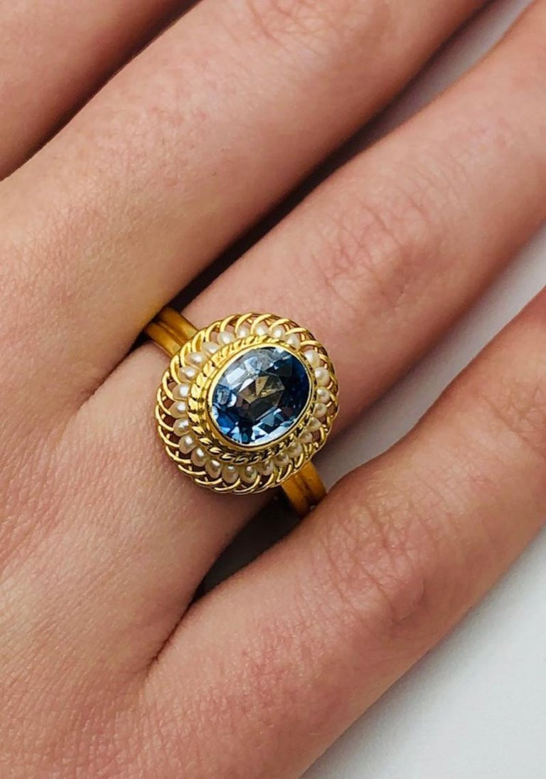 Women's 2.61 Carat Blue Sapphire, Seed Pearl Yellow Gold Filigree Cocktail Ring For Sale