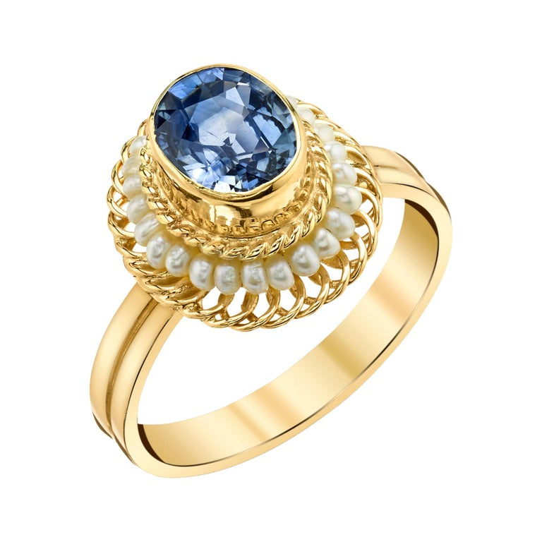 2.61 Carat Blue Sapphire, Seed Pearl Yellow Gold Filigree Cocktail Ring For Sale