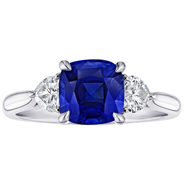 2.61 Carat Cushion Blue Sapphire and Diamond Ring
