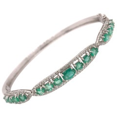 2.61 Carat Emerald Diamond Bangle Bracelet