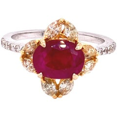 2.61 Carat GRS Certified Unheated Burmese Ruby and Diamond Gold Engagement Ring