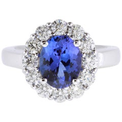 2.61 Carat Oval Tanzanite and 1.19 Carat Diamond Ring