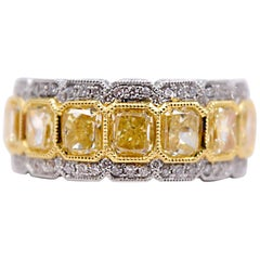 2.61 Carat Radiant Cut Fancy Yellow Diamond Cocktail Ring in 18 Karat Gold