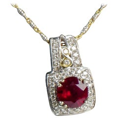 2.61 Carat Ruby and Diamond Pendant 14 Karat White Gold with Two-Tone Chain
