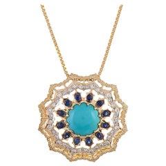 2.61 Carat Turquoise Blue Sapphire and Diamond 18 Karat Yellow Gold Pendant