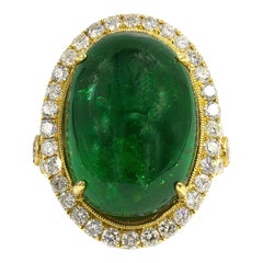 26.11 Carat Tsavorite Green Garnet Ring with Diamonds 18 Karat Gold