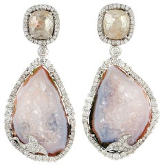 One of Kind 26.15 Carat Geode 18 Karat White Gold Diamond Earrings