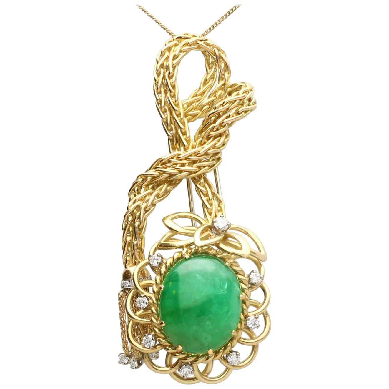 26.16 Carat Emerald and Diamond Yellow Gold Brooch Pendant