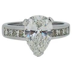 2.61ct Pear Shape Diamond Solitaire with Diamond Shoulders 18 Karat White Gold