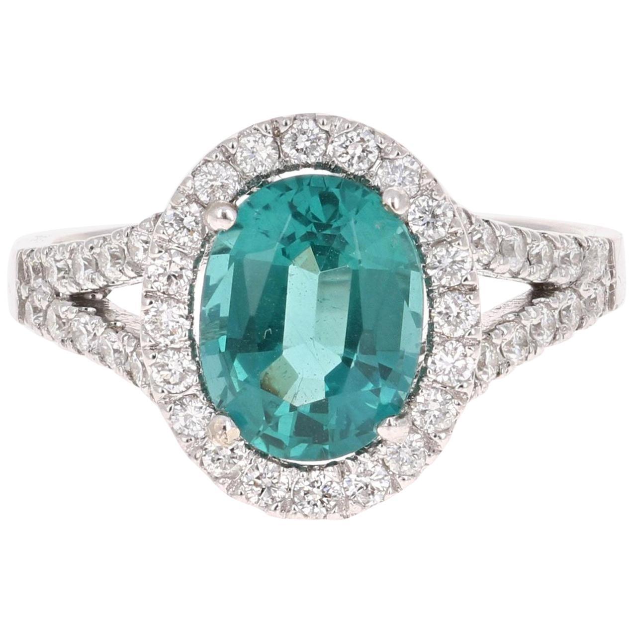 2.62 Carat Apatite Halo Diamond Engagement Ring