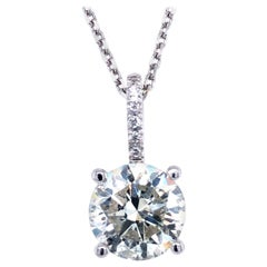 2.62 Carat Diamond Solitaire Pendant, 14 Karat White Gold