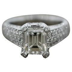 2.62 Carat Emerald Cut Diamond Platinum Ring, GIA Certified
