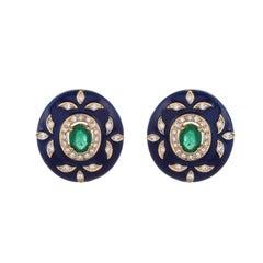 2.62 Carat Emerald Royal Blue Enamel Diamond 18 Karat Yellow Gold Earrings