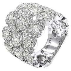 2.62 Carat Full Pave Diamond Wide Anniversary Band 14 Kt White Gold Fancy Ring