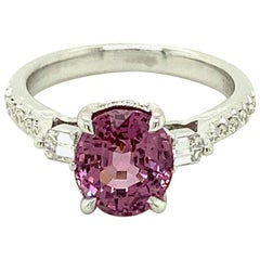 2.62 Carat GRS Certified Unheated Burmese Pink Spinel and Diamond Gold Ring