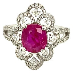 2.62 Carat GRS Certified Unheated Burmese Ruby and White Diamond Engagement Ring