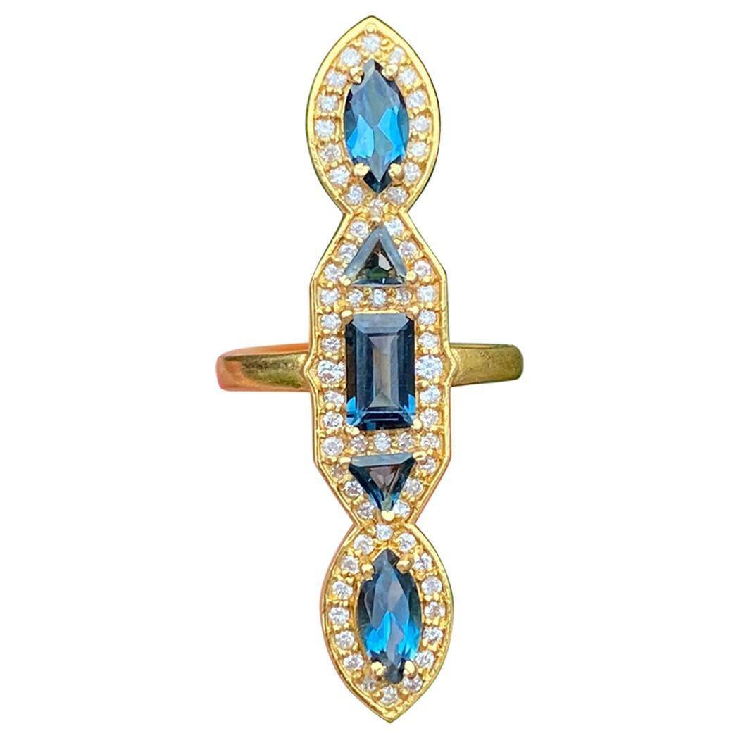 2.62 Carat London Blue Topaz and .45 Carat Diamond Gold Ring by Lauren Harper