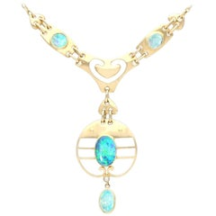 2.62 Carat Opal and Yellow Gold Necklace by Murrle Bennet & Co, circa 1900