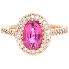 2.62 Carat Pink Tourmaline Diamond 14 Karat Rose Gold Engagement Ring