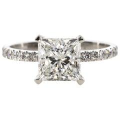 2.62 Carat Princess Cut Diamond Engagement Ring
