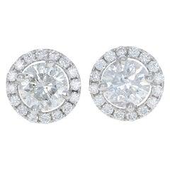 2.62 Carat Round Brilliant Diamond Earrings, 14k White Gold Pierced Halo Studs
