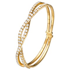 2.62 Carat Round Diamond 18 Karat Yellow Gold Wave Cuff Bangle Bracelet