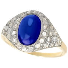 2.62 Carat Cabochon Cut Sapphire and Diamond Yellow Gold Cocktail Ring