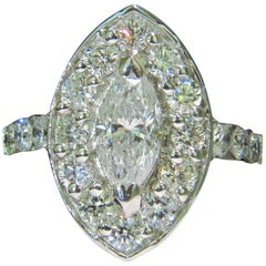 2.62 Diamonds Cluster Ring Marquise and Rounds 14 Karat Halo Deco