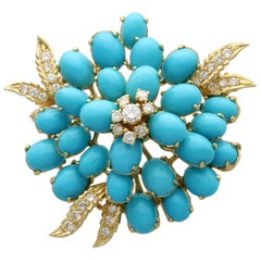 26.22 Carat Turquoise and 1.15 Carat Diamond Yellow Gold Brooch