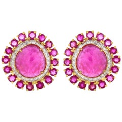 26.24 Carat Ruby and Diamond 18 Karat Yellow Gold Stud Earrings in Stock