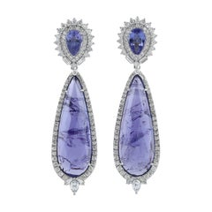 26.24 Tanzanite Diamond 18 Karat Gold Earrings