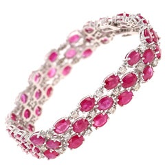 26.25 Carat Natural Ruby Diamond 14 Karat White Gold Bracelet