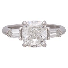 2.62ct GIA Cushion Cut Platinum Diamond Ring