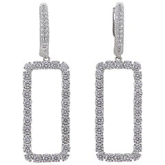 2.63 Carat Diamond Rectangle Dangle Earrings 18 Karat White Gold Drop Earrings